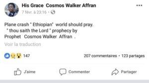 ethiopian airlines pasteur prédit le crash
