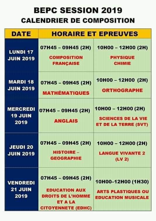 Calendrier Epreuve Bac 2019.Resultats Bepc 2019 Cote D Ivoire Les Proclamations Le