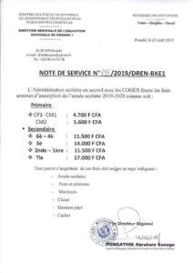 frais annexes d'inscription a bouaké