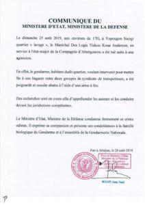 gendarme tué par des gnambros yopougon