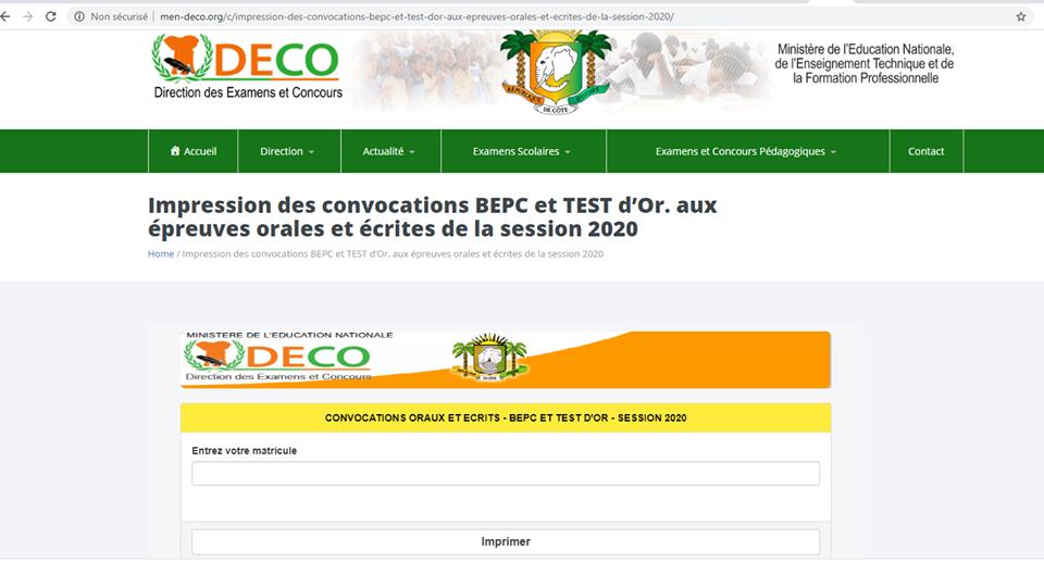 convocation bepc et test d'orientation